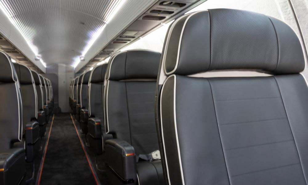 Interior regional aircraft conversion on Embraer aircraft - photo of a single row of aircraft seats