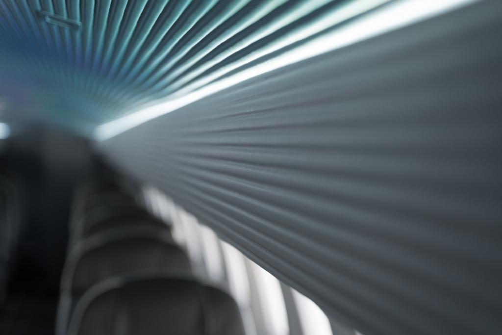 Interior regional aircraft conversion on Embraer aircraft - up close photo of interior aircraft ceiling panels