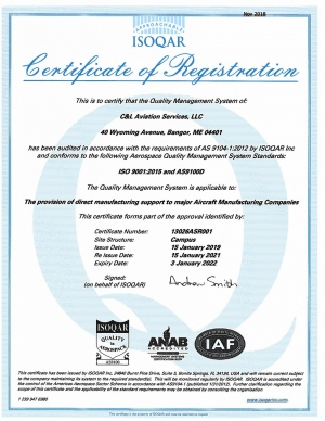 C& Aviation Services ISO 9001.2015 and AS9100D