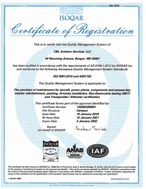 C& Aviation Services ISO 9001.2015 and AS9110